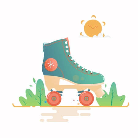 Roller skate flat vector illustration isolated on a white background. Ilustrace