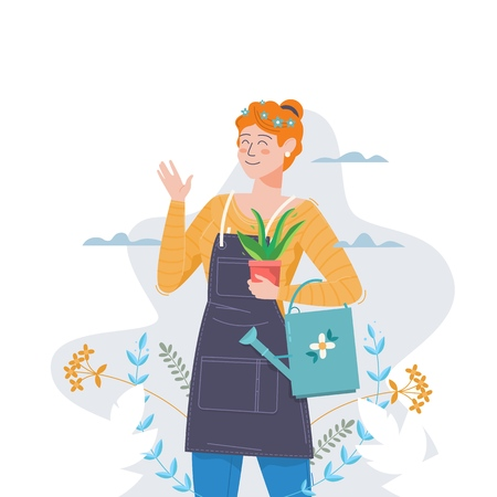 Gardening.Woman with flower and watering can. Vector illustration