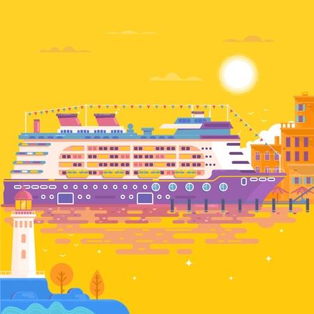 Summer travel cruise ship. Sea landscape. Illustration