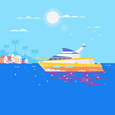 바다에서 요트와 주변 갈매기입니다. 고급 여행 항해 바다 교통 요트입니다. 플랫 벡터 일러스트 레이션