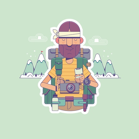 Travel, hiking, backpacking, tourism and people concept. Happy hiker with backpacks looks to the horizon over mountains backgroun