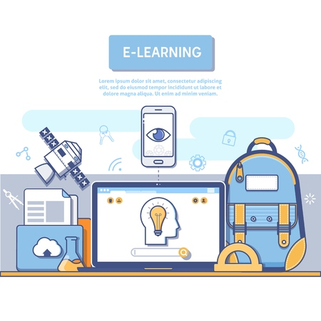E-Learning concept for application development, Back to school flat line design concept for education. Vectores
