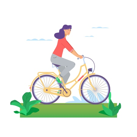 Beautiful girl happily riding bicycle in flat design isolated on white background.Woman s activity at the park concept illustration.