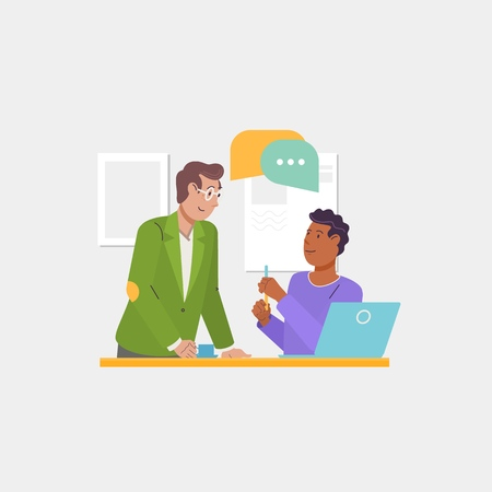 Group discussion, dialogues and communications, cooperation, teamwork, partnerships. Business teamwork, start-up, brainstorming.Flat vector illustration