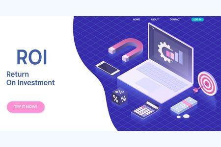 Roi Return On Investment vector illustration in isometric design. Analysis Finance Concept