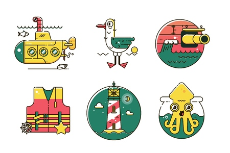 Set of nautical marine line color icon.Marine exotic flat design Illustration