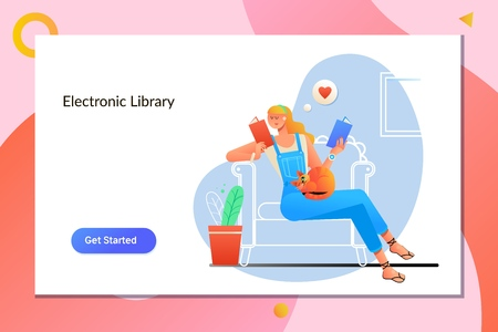 E-book E-Learning Electronic Internet Mobility Concept.Young woman at home sitting on modern chair relaxing in her living room reading book.Vector illustration