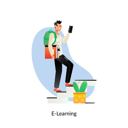 E-learning Education.Online training courses, specialization, university studies Vectores