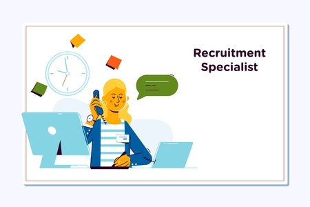 Recruitment Concept for web page. Openly greeting a job recruiter