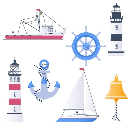Lighthouses and marine attributes vector set anchors,lighthouse ship and steering wheel