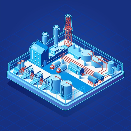 Vector isometric icon or infographic element with oil pumps, related industrial facilities loading semi-trucks tanks Illustration