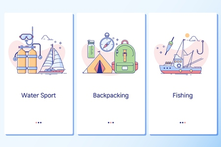 Water sport, Backpacking, Fishing,Web site linear art onboarding screens template.Mobile app onboarding screens