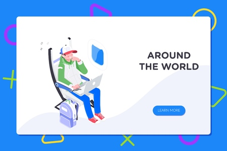 Flier traveler using onboard internet provided by airline.Man using laptop in cabin seat while traveling by airplane illustration.Flat 3d isometric vector illustration