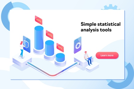 Landing page template of charts and analyzing statistics data visualization concept. Isometric vector illustration