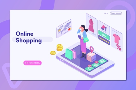 Online shopping.Landing page with people or buyers.Can use for web banner, infographics, hero images. Illustration