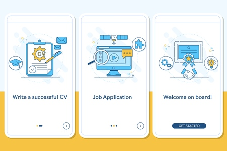 Job searching onboarding mobile app page screen with linear concepts, Write CV, apply job, interview, getting work steps graphic instructions. UX, UI, GUI vector template with illustrations