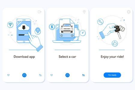 Car rental service onboarding mobile app page screen with linear concepts.Automobile leasing. Carpooling steps graphic instructions. Rent a car
