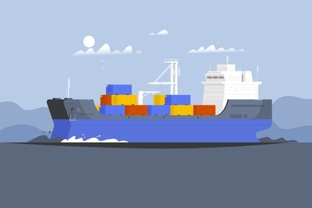 Cargo ship container in the ocean transportation.Delivery service concept