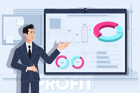 Business man making a presentation in front of whiteboard. Vector illustration