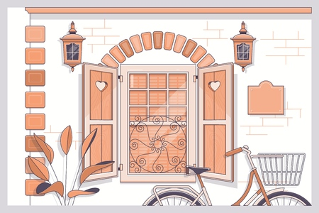 Bicycle with flowers near provence style house.Line vector illustration