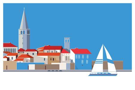 Beautiful romantic old town of Porec,Istrian Peninsula, Croatia,Europe.Vector illustration
