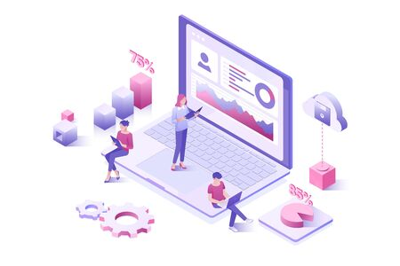 Data analysis, statistics collection. Landing page template People interacting with a dashboard. Ilustração
