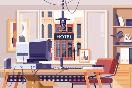 Home Office Design Workspace Room Concept.Flat vector illustration