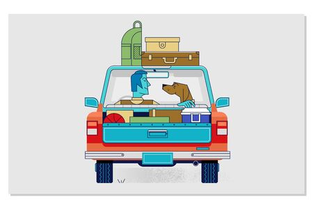 Travelling with pets by car concept flat vector illustration.Travel car illustration car with luggage Ilustrace