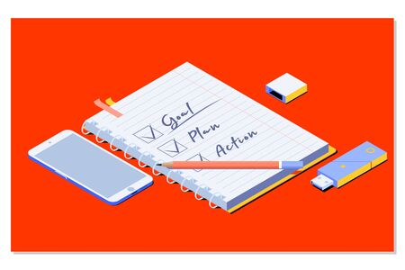 Goal,plan,action text on notepad with office accessories. Business motivation,inspiration concepts ideas.Isometric vector illustration Stok Fotoğraf - 132105294