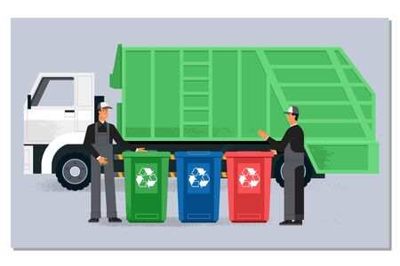 Two garbagemen working together on emptying dustbins for trash removal.Garbage truck and dustmen. Illustration in flat style 向量圖像