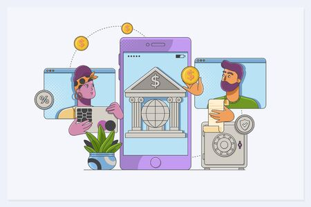 Web concept for online banking. Modern banner for internet banking.People characters using smartphone for internet mobile payments, transfers and deposits. Ilustrace