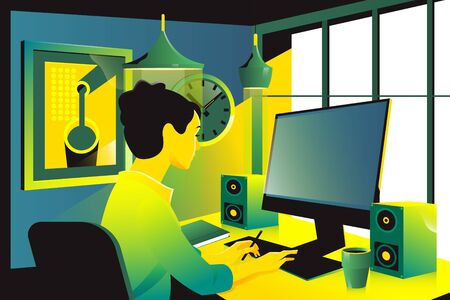 businesswoman sitting on her workplace in the office, typing, looking at pc screen.Flat vector illustration