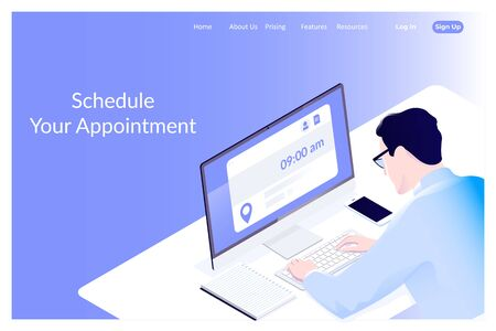 Appointment and booking application.Business man schedule his weekly program on computer. Vector illustration Illustration