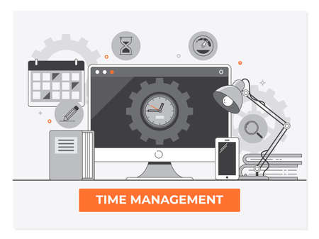 Time management, planning and organization of working time.Simple line flat design Ilustracja