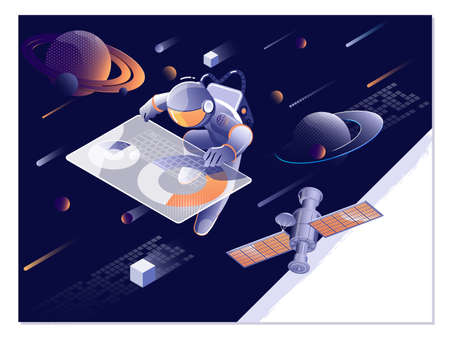 Space explore. Astronaut, asteroid, comet and space object set vector illustration