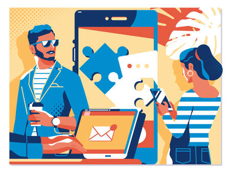 Virtual relationships, online dating and social networking concept.Vector illustration