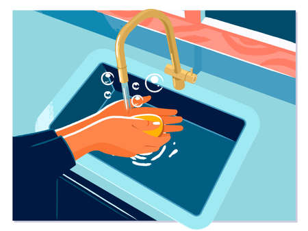 Washing hands rubbing with soap woman illustration