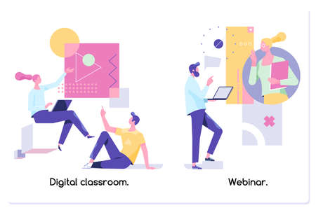 Educational web seminar, internet classes, professional personal teacher service.Vector isolated concept illustrations