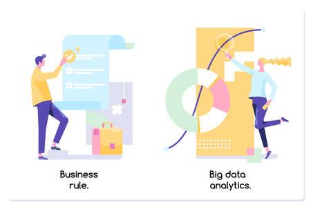 Business rule, big data analytics, application software, data management. Vector illustration Illustration