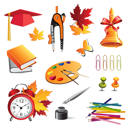 illustration school objects Vector