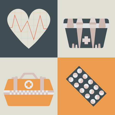 Set of health care and medicine icons in flat style. Pharmacy symbol sign, vector illustration