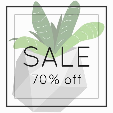 discount banner: Sale 70 off sign over plant. Spring sale background banner