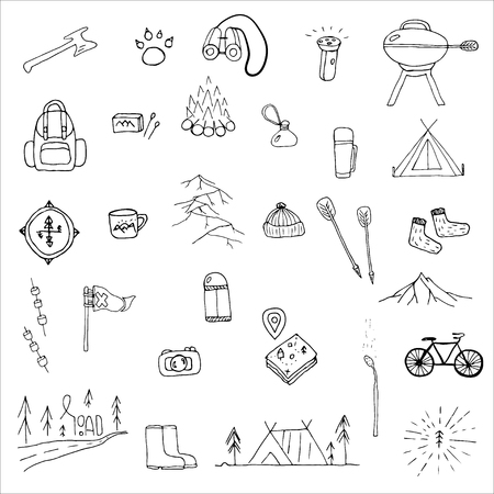 Hand drawn camping icons set. Camping icons to use for web and mobile UI Illustration