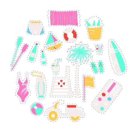watermelon boat: Set of vector flat summer line icons