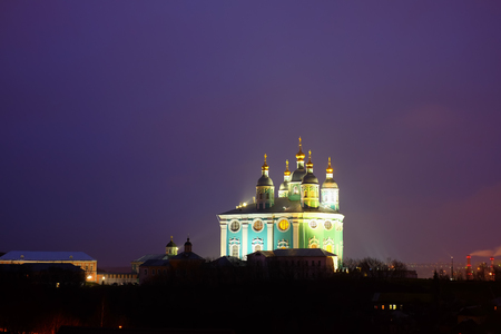 Night view of the expected Cathedral in Smolensk