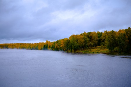 River through an autumn forest. Beautiful views of autumn landscape - the river flows through the autumn forest, fog creeps along the river. Banque d'images