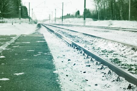 View of the railway covered with snow goes away. The background is blurred. Along the road the pine forest.
