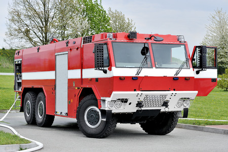 firetruck: Off-road red Fire truck Stock Photo