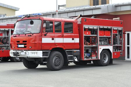 Red Fire truck with equipment