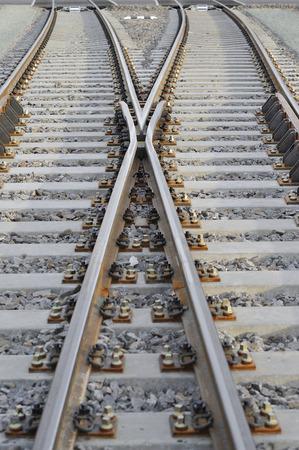 crossroad: Cruce de trenes de gran X Foto de archivo